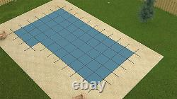 16' x 32' Value X SOLID Rectangle Swimming Pool Safety Cover with Left 4 x 8 Step