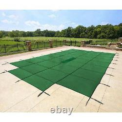 18x36 Rectangle Swimming Pool Winter Safety Cover Solid Green 12 YR with4'x8' Step