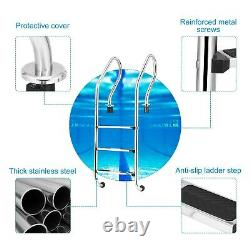 3-Step Stainless Steel In Ground Swimming Pool Ladder with Anti-Slip Steps Safety