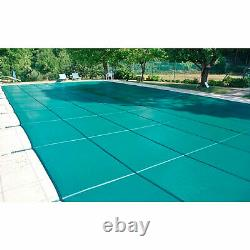 Anti-UV Safety Pool Cover 16X32 FT with Center Step Rectangular Swimming Pond