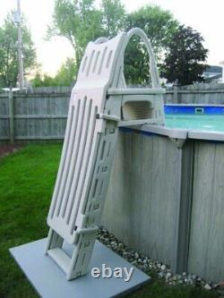 Confer 7200 Roll Guard A-Frame Above Ground Swimming Pool Ladder with Safety Gate