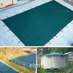 Deluxe 16x32 FT Green Winter Rectangular Inground Swimming Pool Cover Safety