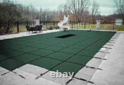 GLI 16 x 32 ValueX Green Solid Rectangle Swimming Pool Safety Cover with 4x6 Step