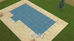 GLI 18' x 36' BLUE ULTRA LITE SOLID Swimming Pool Safety Cover with Left 4x8 Step
