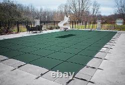 GLI 18 x 36 GREEN ULTRA LITE SOLID Rectangle Swimming Pool Safety Cover with Drain