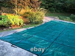 GLI 18' x 36' Rectangle Secur-A-Pool MESH Green Swimming Pool Cover -no steps