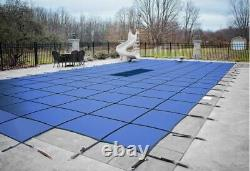 GLI 18 x 36 ValueX Blue Solid Rectangle Swimming Pool Safety Cover with 4'x8' Step