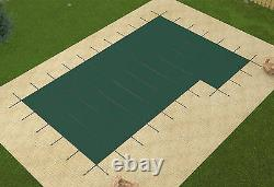 GLI 20 x 40 GREEN MESH In-Ground Swimming Pool Safety Cover with 4 x 8 Right Step
