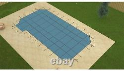 GLI HyperLite Rectangle with Drain Swimming Pool Safety Winter Cover with Left Step