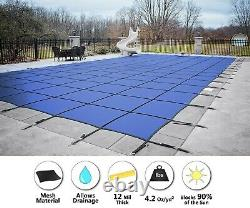 GLI Secur-A-Pool Blue Mesh Rectangle Swimming Pool Safety Cover (Choose Size)