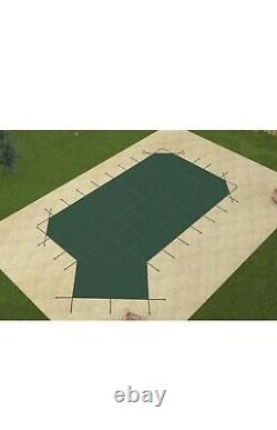 GLI Secur-A-Pool Grecian MESH Swimming Pool Safety Cover with Left Offset Step GRN
