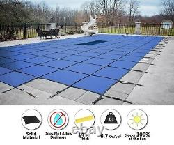 GLI ValueX Blue Solid Swimming Pool Winter Safety Cover with Drain & Center Step