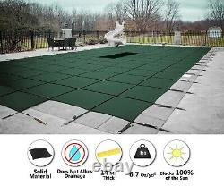 GLI ValueX Green Solid Swimming Pool Winter Safety Cover with Drain & Center Step