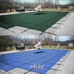 GLI ValueX Green or Blue Solid with Drain Swimming Pool Safety Cover with Step