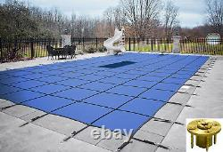 GLI ValueX Rectangle Solid Swimming Pool Safety Covers with Panel & Wood Anchors