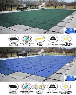 GLI ValueX Solid Swimming Pool Winter Safety Cover with Center End Step & Pump