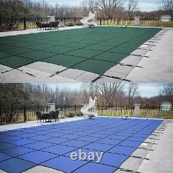 HPI Rectangle Green Blue MESH Swimming Pool Winter Safety Cover with 4' x 8' Step