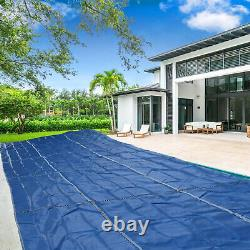 Pool Safety Cover Rectangle Inground for Winter Swimming Pool Mesh Solid Blue PE