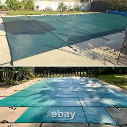 Pool Safety Cover Rectangle Winter In-Ground Swimming Pool Mesh Cover 16x32ft