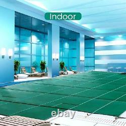 Pool Safety Cover Rectangle Winter In-Ground Swimming Pool Mesh Cover Foldable