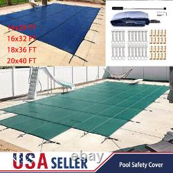 Pool Safety Cover Rectangle Winter In-Ground Swimming Water Pool Mesh Solid US