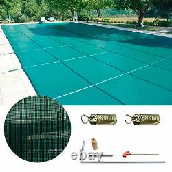 Pool Safety Green Cover Anti-UV Inground for Winter Swimming Pool with 4X8 ft Step