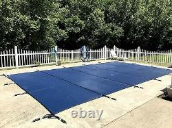 Rectangle In-Ground Swimming Pool Safety Cover 2-Ply Polypropylene Mesh, Blue