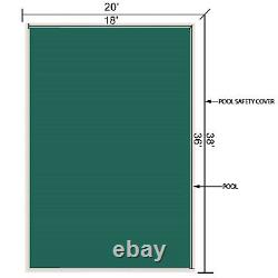 Safety Pool Cover 18X36FT Rectangular In Ground Non-toxic Brass Outdoor