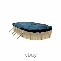 Swimline 18x34 Ft Oval Above Ground Heavy Winter Swimming Pool Cover Blue/Black