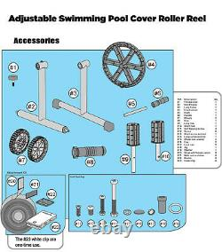 Swimming Pool Cover Reel Set 21' FT Aluminum Inground Solar Cover withThermometer