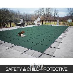 Swimming Safety Pool Cover 16X32 FT Center Step Rectangular Green Winter
