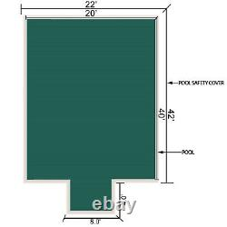 VEVOR Swimming Pool Cover 20' x 40' Safety Pool Cover with 4'x8' Center End Steps