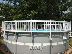 VinylWorks Swimming Pool Resin Safety Fence Base Kit B 3 Sections Color-White