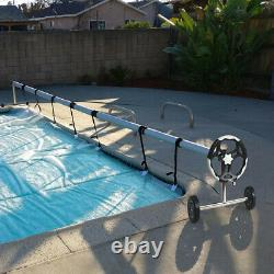 Costway 21 Ft Pool Cover Reel Set Aluminium In-ground Natation Solar Cover Reel
