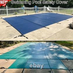 Pool Safety Cover Rectangle Inground For Winter Piscine Mesh Solid Blue Pe